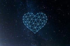 Concept neuraal netwerk met hart op de ruimteachtergrond Kunstmatige intelligentie, machine en diep het leren, neurale netwerken stock illustratie