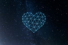 Concept of neural network with heart on the space background. Artificial intelligence, machine and deep learning, neural networks stock illustration