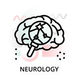 Concept of neurology icon on abstract background. Modern flat editable line design vector illustration, concept of neurology icon on abstract background, for stock illustration