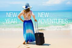Concept of new adventures in New Year royalty free stock photos