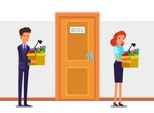 Concept of New job, hiring and dismissal. Happy young business man holds a box with his things and going into new office. Dismissed frustrated business woman Stock Image