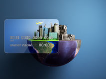 Concept of new opportunities with credit cards a new city in the. Strength of a card a ruined city outside the credit card 3d render stock illustration