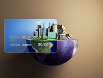 Concept of new opportunities with credit cards a new city in the. Strength of a card a ruined city outside the credit card 3d render royalty free illustration