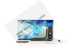 Concept of new opportunities A new tv instead of a camp on a cre Stock Image