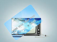 Concept of new opportunities A new tv instead of a camp on a cre Royalty Free Stock Images