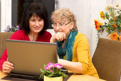 Concept new technology. Young women explains a pensioner how to use a laptop Royalty Free Stock Photography
