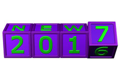 Concept: New Year 2017 blocks. 3D rendering. Stock Image
