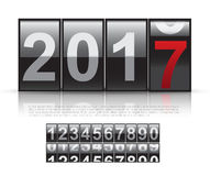 Concept of The New Year 2017. Close Up of The Digits of A Mechanical Counter Royalty Free Stock Photography