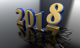The concept of the new year 2018, 3d rendering. The concept of the new year 2018, 3d render Royalty Free Stock Photo