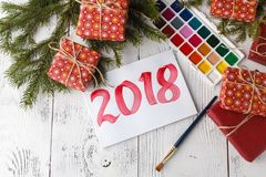 Concept of new year 2018 with draw.  Royalty Free Stock Photography