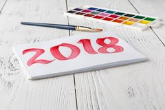 Concept of new year 2018 with draw.  Royalty Free Stock Image