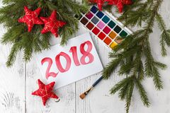 Concept of new year 2018 with draw Royalty Free Stock Image