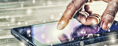 Concept: New Year. Finger man or businessman points on a touch screen tablet computer. Luminous screen. Concept: bright idea. a bu Stock Photography