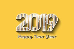 2019 New Year in Gold and Silver colors - Vector Illustration. Concept of New Year in metal colors in yellow background royalty free illustration