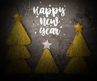 Concept of new year from mexican nachos. Christmas trees made of chips nachos with cheese on a dark background. Copy space royalty free stock images