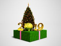 The concept of the new year 2019 year of the pig with green Chri. Stmas tree and shiny gift 3d render on gray background with shadow vector illustration