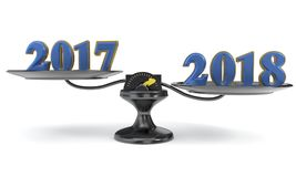The concept of the new year and the previous year, 3d rendering Royalty Free Stock Photo