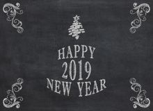 Concept of New Year resolution fading, being erased, forgotten or falling apart - white chalk writing on blackboard. To mean a concept royalty free stock photo