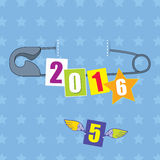 Concept of the 2016 New Year with safety pin and numbers on the blue background with stars Royalty Free Stock Photos