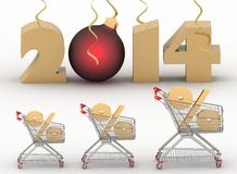 Concept of new-year sales Stock Photos