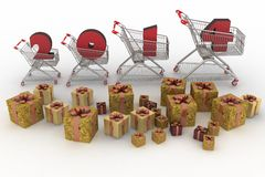 Concept of new-year sales. 3d illustration on white background stock illustration
