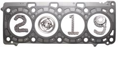 The concept of the new year, two thousand nineteen. From the details of the engineering industry and automotive parts lined figures 2019. The concept of the new stock images