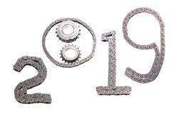 The concept of the new year, two thousand nineteen. From the details of the engineering industry and automotive parts lined figures 2019. The concept of the new stock image