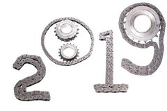 The concept of the new year, two thousand nineteen. From the details of the engineering industry and automotive parts lined figures 2019. The concept of the new stock photography