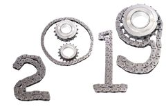 The concept of the new year, two thousand nineteen. From the details of the engineering industry and automotive parts lined figures 2019. The concept of the new stock photo