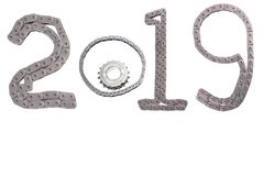 The concept of the new year, two thousand nineteen. From the details of the engineering industry and automotive parts lined figures 2019. The concept of the new royalty free stock image