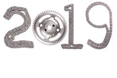 The concept of the new year, two thousand nineteen. From the details of the engineering industry and automotive parts lined figures 2019. The concept of the new stock photos