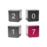 Concept new year 2017. Wooden cubes with numbers isolated on white background. Concept new year 2017 Royalty Free Stock Image