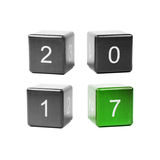 Concept new year 2017. Wooden cubes with numbers isolated on white background. Concept new year 2017 Stock Photography