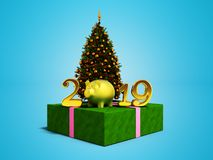 The concept of the new year 2019 year of the pig with green Chri. Stmas tree and shiny gift 3d render on blue background with shadow royalty free illustration