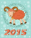 Concept 2015 new years card with cute goat. Vector illustration royalty free illustration