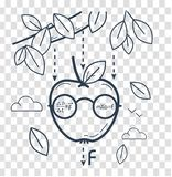 Concept Newton Day. Concept of knowledge, science, learning in the form of a funny Newtonian apple. black and white illustration. Icon in the linear style stock illustration