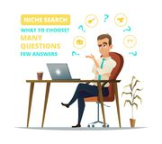 Concept of niche search. Sad Businessman sitting on his workplace. Young business man think. Thinking business man. Surrounded by question marks and niche icons royalty free illustration