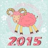 Concept 2015 nieuwe jarenkaart met leuke geit Stock Afbeelding