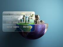 concept nieuwe kansen met creditcards een nieuwe stad in royalty-vrije illustratie