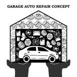 Concept noir automatique de services des réparations avec des icônes et des pièces de rechange de voiture dans le garage dans éti Photos libres de droits
