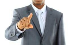 Concept noir de recrutement avec un homme d'affaires africain Photographie stock
