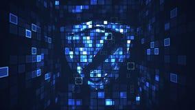 Concept numérique abstrait de sécurité de protection de bouclier de cyber illustration de vecteur