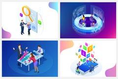 Concept numérique isométrique de stratégie marketing Affaires, idée de vente d'Internet, bureau et objets en ligne de finances