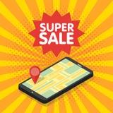 concept numérique mobile de la vente 3d illustration stock