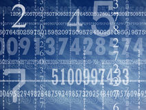 Concept of numbers. A series of different numbers with a deep blue sky on the background royalty free illustration