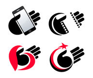 Concept objects in hand  icons eps10 Stock Photos