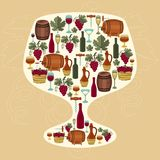 Concept with objects winemaking in shape of glass Royalty Free Stock Photo