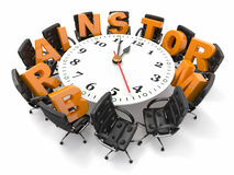 Concept Of Brainstorm. Circle Table As Clock And Armchairs Royalty Free Stock Photo