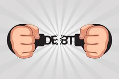 Free Concept Of Debt Repayments By Debtor And Getting Free From Loans Stock Photo - 179351430