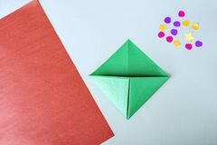 Free Concept Of DIY And Kid`s Creativity, Origami. Step By Step Instruction: How To Make Bookmark As Christmas Tree. Step 6 Bend Left Royalty Free Stock Images - 204106089